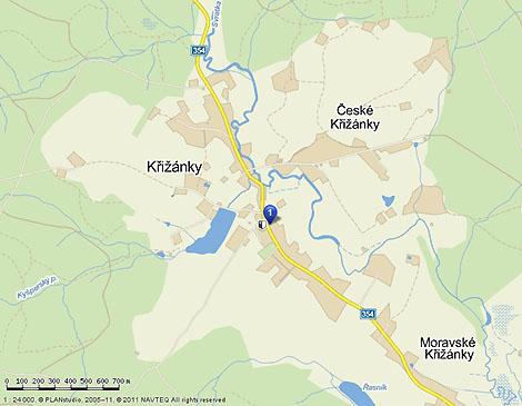 Základní škola a Mateřská škola Křižánky - mapa
